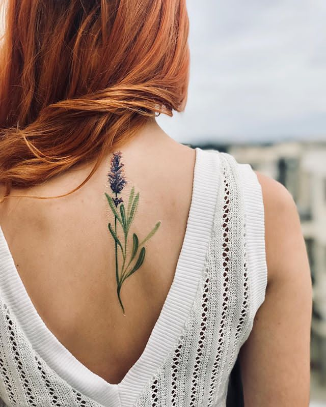 beautiful back Lavender Plant Tattoo