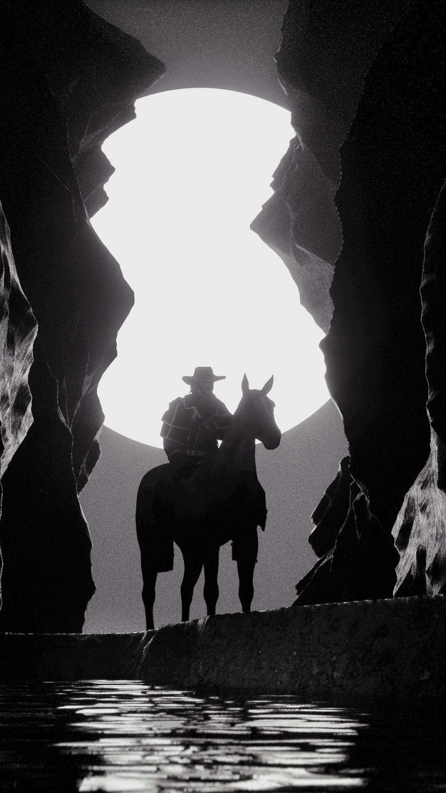red dead horse black and white wallpaper
