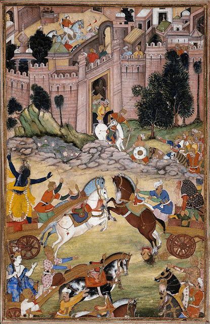 Krishna_kills_Shrigala Mughal painting, c. 1585 from the Court of Akbar