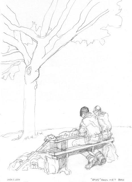 """Boys"" by the pool - sketch by Linda S. Leon on https://tussendelijntjes.blogspot.com"