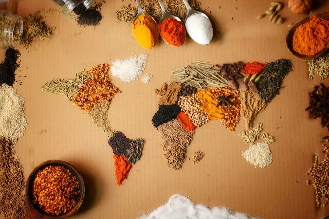 World food map and spices used in the kitchen