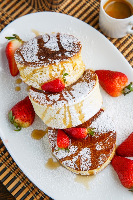 Japanese Souffle Pancakes with Lemon Curd and Blueberries