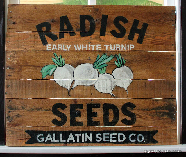 reclaimed wood hand painted garden sign
