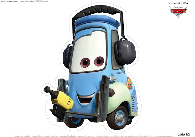 Guido of Cars 2: Free Printable Table Centerpiece.