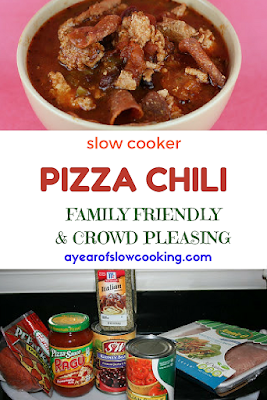 How to make pizza chili in the crockpot slow cooker -- great family meal that is fun, healthy, and delicious! This is a naturally gluten free, low carb & keto friendly meal.