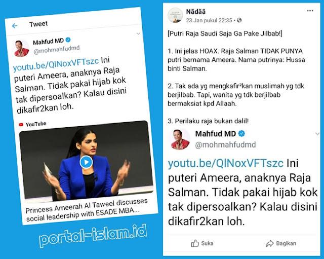 HOAX Mahfud MD: Raja Salman Tidak Punya Putri Bernama Ameera, Perilaku Raja Bukan Dalil!