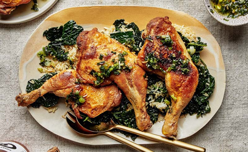 Chicken with Schmaltzy Rice and Kale