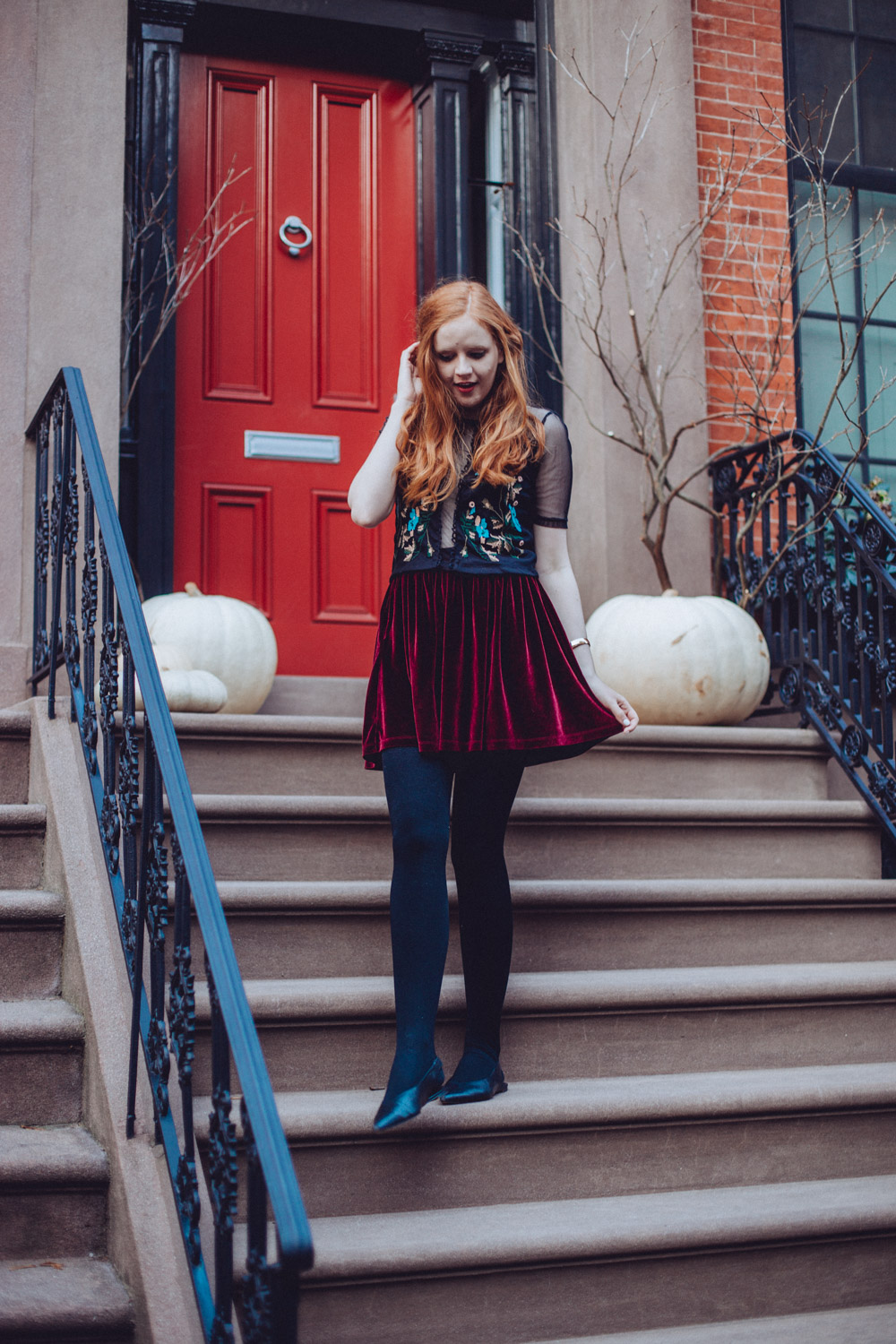 Claire Petersen outside a Brooklyn Townhouse