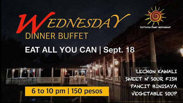 Taytayan Cordova Buffet Schedule for Dinner - Wednesdays 6pm to 10pm