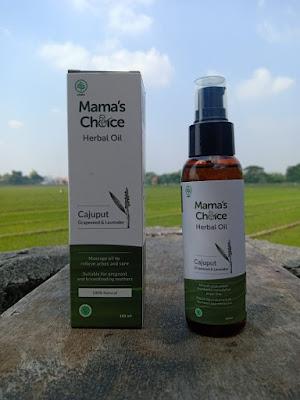 bagian depan kemasan mamas choice herbal oil