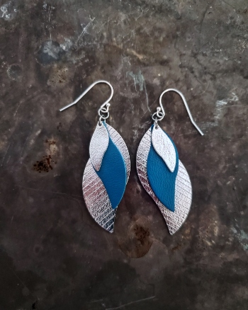 Metallic silver and blue leather earrings with sterling silver wires.