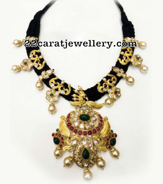 Black Thread Peacock Necklace
