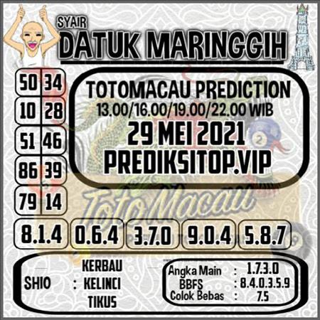 Syair Top Datuk Maringgih Toto Macau Sabtu 29 Mei 2021