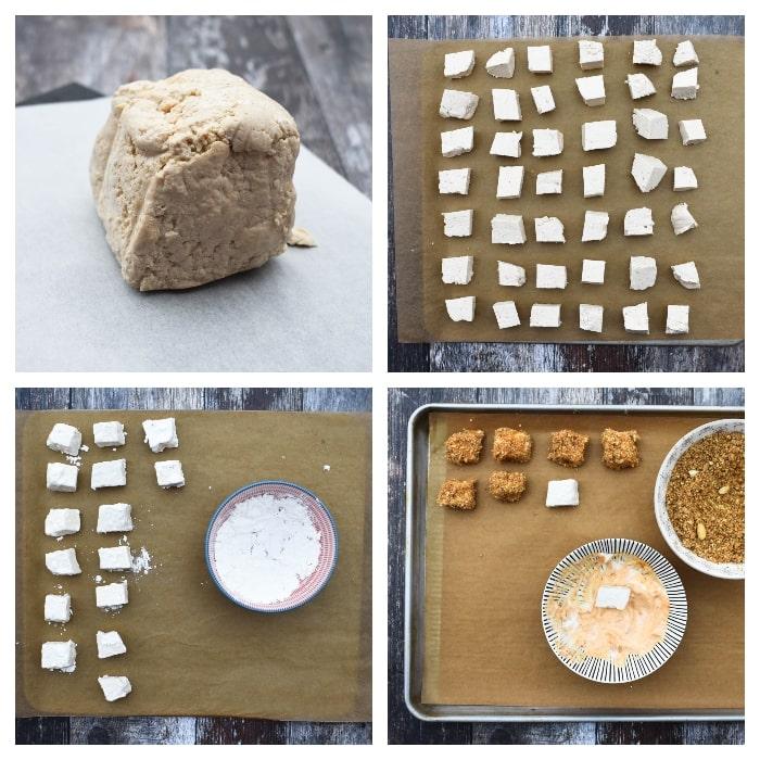 Baked Popcorn Tofu - Step 3 - cubed and coated tofu