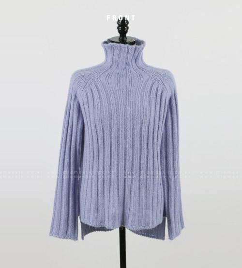 Funnel Neck Hi-Low Knit Pullover