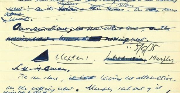 Εικόνα χειρόγραφο του πρώτου μυθιστορήματος του Σάμιουελ Μπέκετ