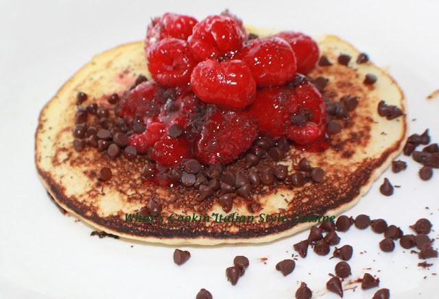 chocolate chip and raspberry pancakes