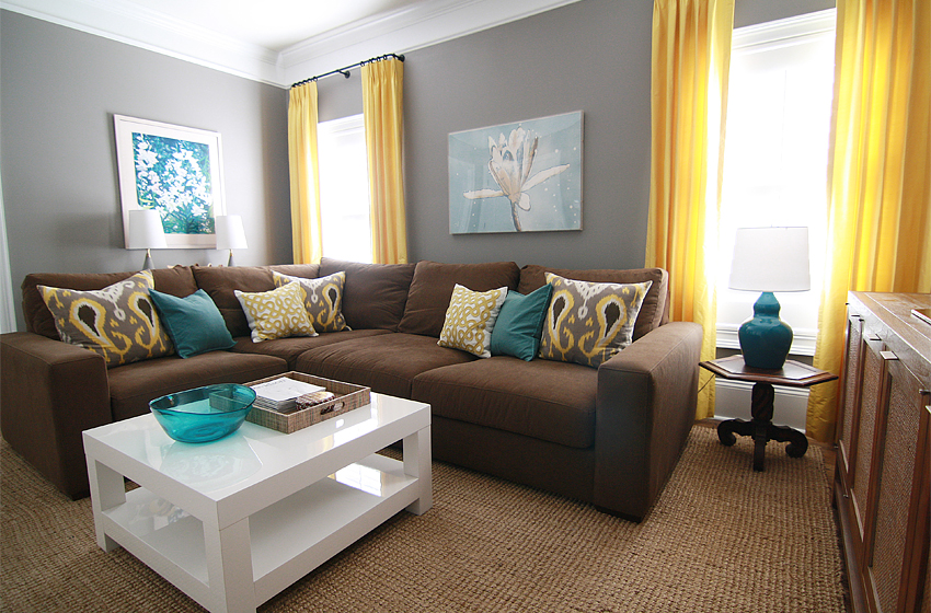 Brown, yellow and teal living room! I would do gray instead of