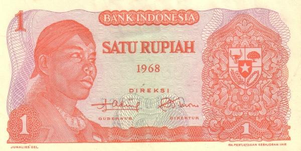 1 rupiah 1968 depan