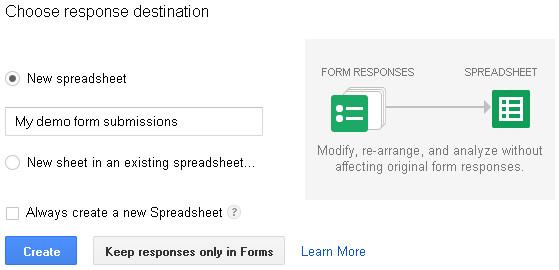 Form response destination box in Google drive