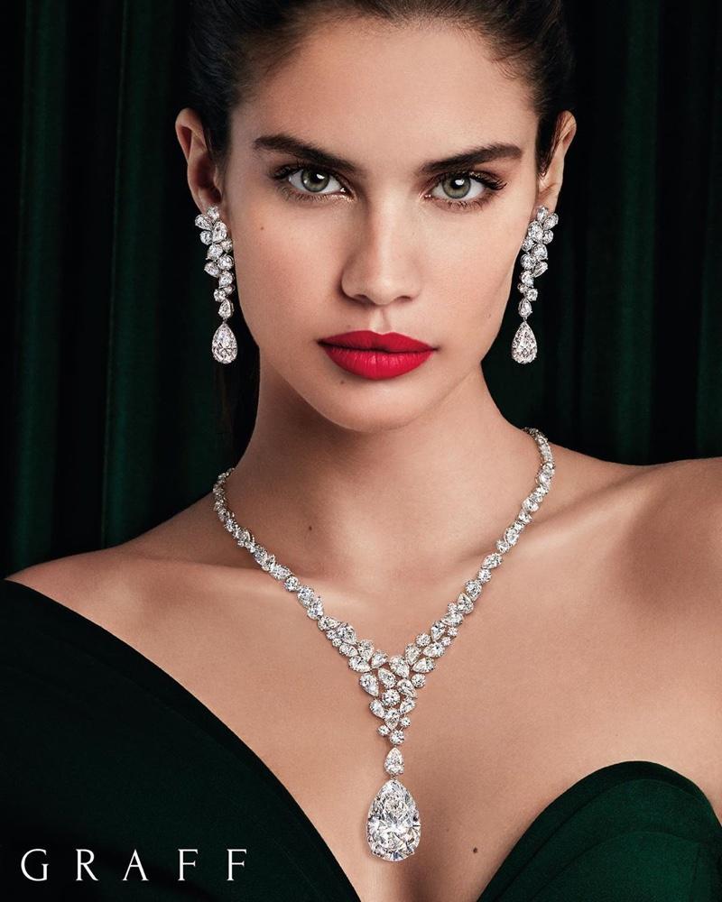 Model Sara Sampaio poses in high jewelry from Graff Diamonds