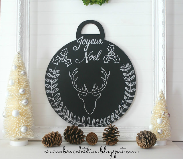 chalkboard Christmas ornament stag deer head holly laurel wreath