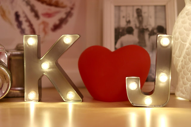 Marquee Light Decor Cluster - Bright and Beautiful Bedroom Makeover - Bedroom Makeover without Painting on a Budget - How to Create Your Own Unique Home Decorating Style