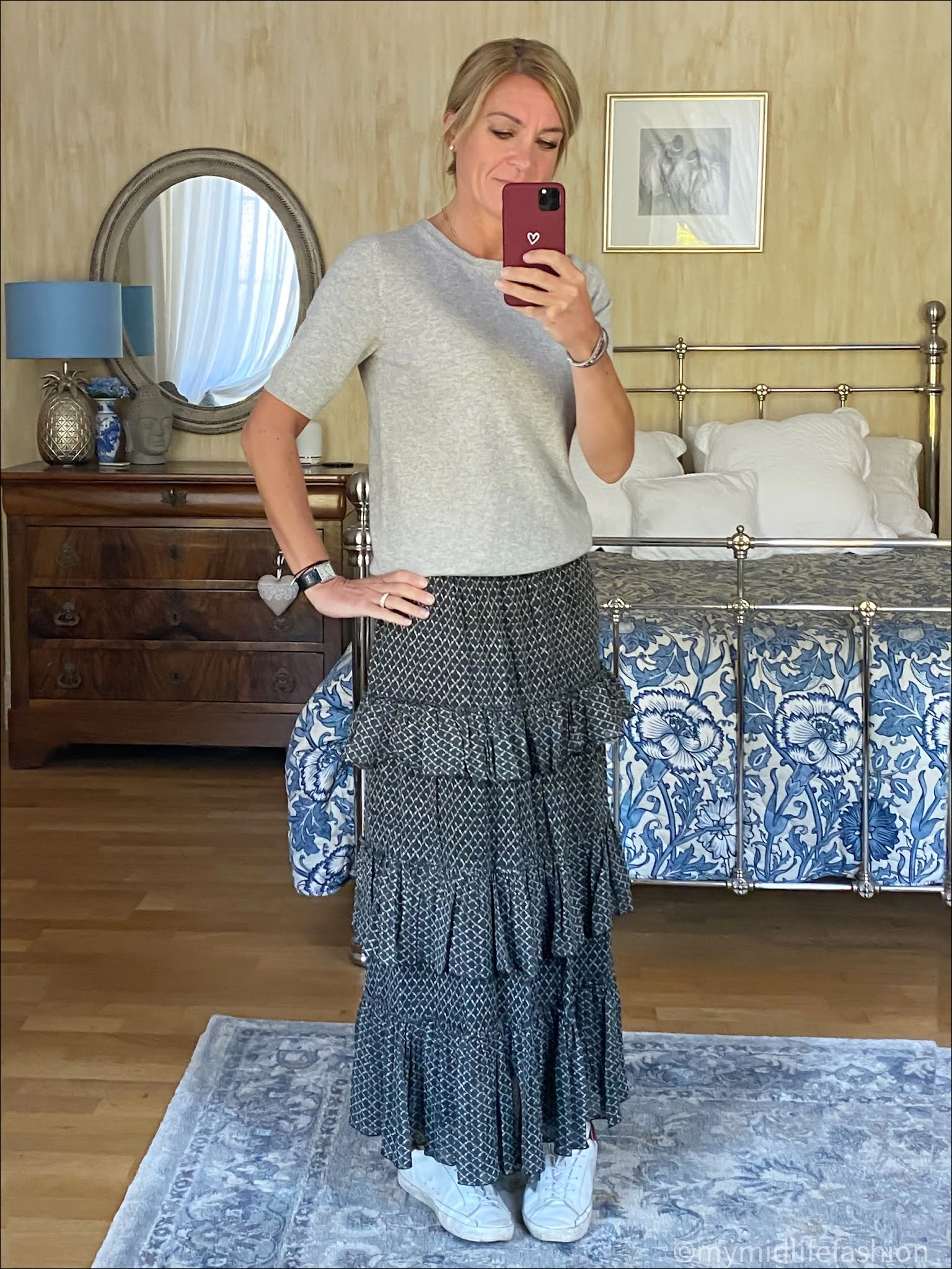 my midlife fashion, Marks and Spencer short sleeve cashmere crew neck jumper, Isabel Marant Etoile ruffle maxi skirt, golden goose superstar low top leather trainers