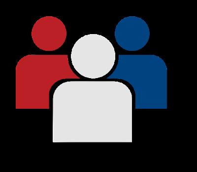 Imagen de un equipo de tres rojo, blanco y azul