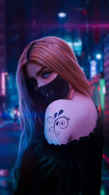 20 Cyberpunk Neon Night Mask Wallpapers HD 5K for iPhone and Android