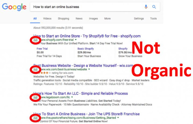 google ads not organic search results adwords listings