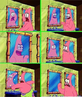 Polosan meme spongebob dan patrick 49 - patrik berkaca karena wajahnya jelek