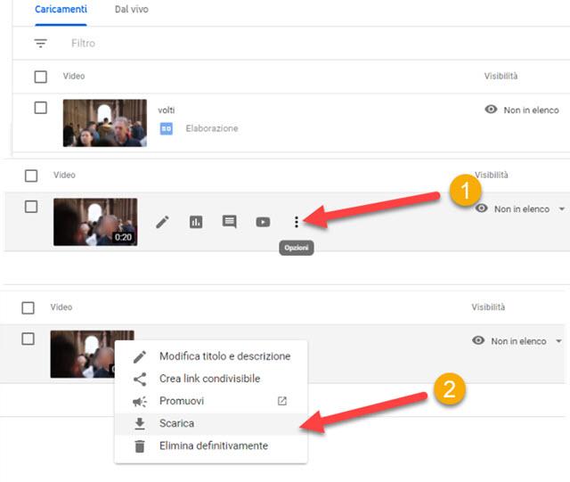 per scaricare il video da youtube