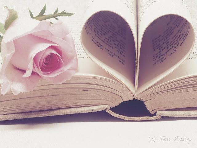 aufgeschlagenes Buch mit Rose