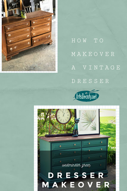 General finishes Westminster green milk paint and gel stain vintage dresser makeover diy before and after
