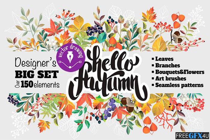 Autumn Vector Elements, Brushes, Patterns Pack