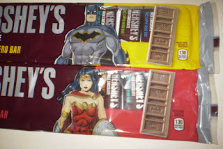Front of Hershey's DC Super Hero Bar 12 Snack Size Batman and Wonder Woman Editions close ups