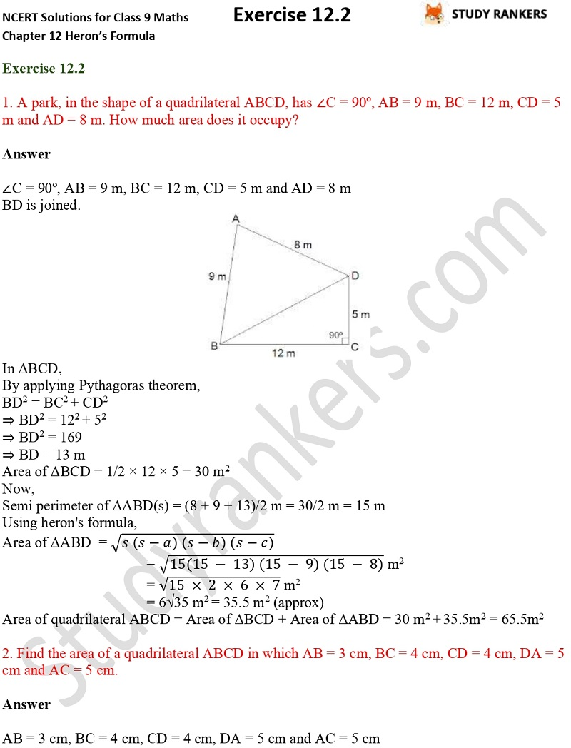 NCERT Solutions for Class 9 Maths Chapter 12 Heron's Formula Exercise 12.2 Part 1
