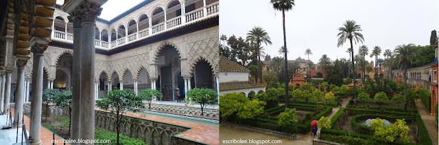 interior del palacio Mudéjar y jardines del Alcázar de Sevilla