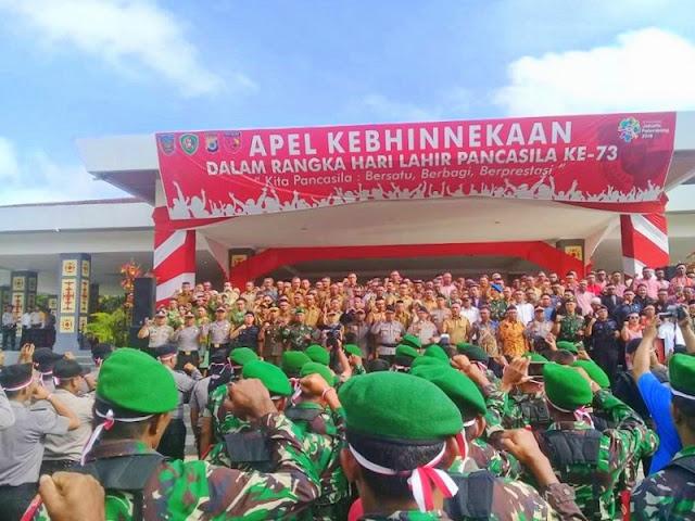 Kodam Pattimura dan Polda Maluku Gelar Apel Kebhinekaan dalam Rangka Hari Lahir Pancasila Ke-73