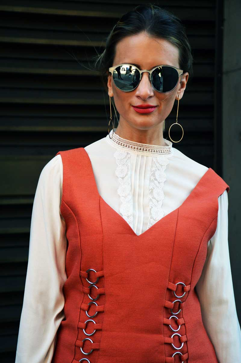 mbfwa street style cameo collective circle detail dress over white victoriana blouse and circle earrings