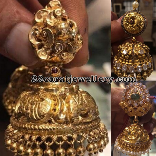 Antique Work Jumbo Jhumkas