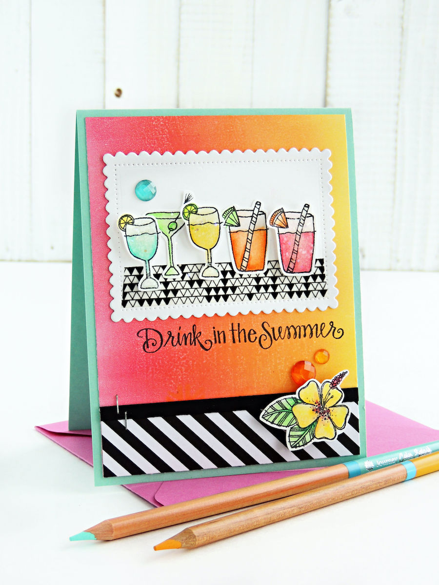 Drink in the Summer handmade summertime card making idea with Impression Obsession. Stamp and color colorful drinks and add to a Gel Press printed background for a tropical summer handmade card. Click to find all the details on this colorful card. #iostamps #cardmaking #stamping