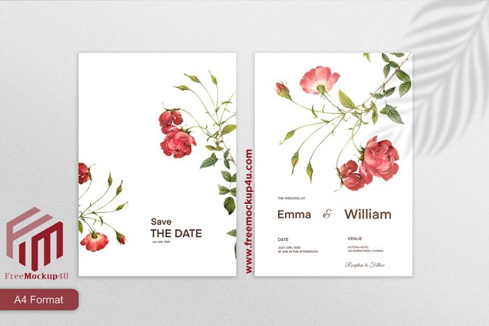 Minimalist Wedding Invitation Template With Red Flower White Background
