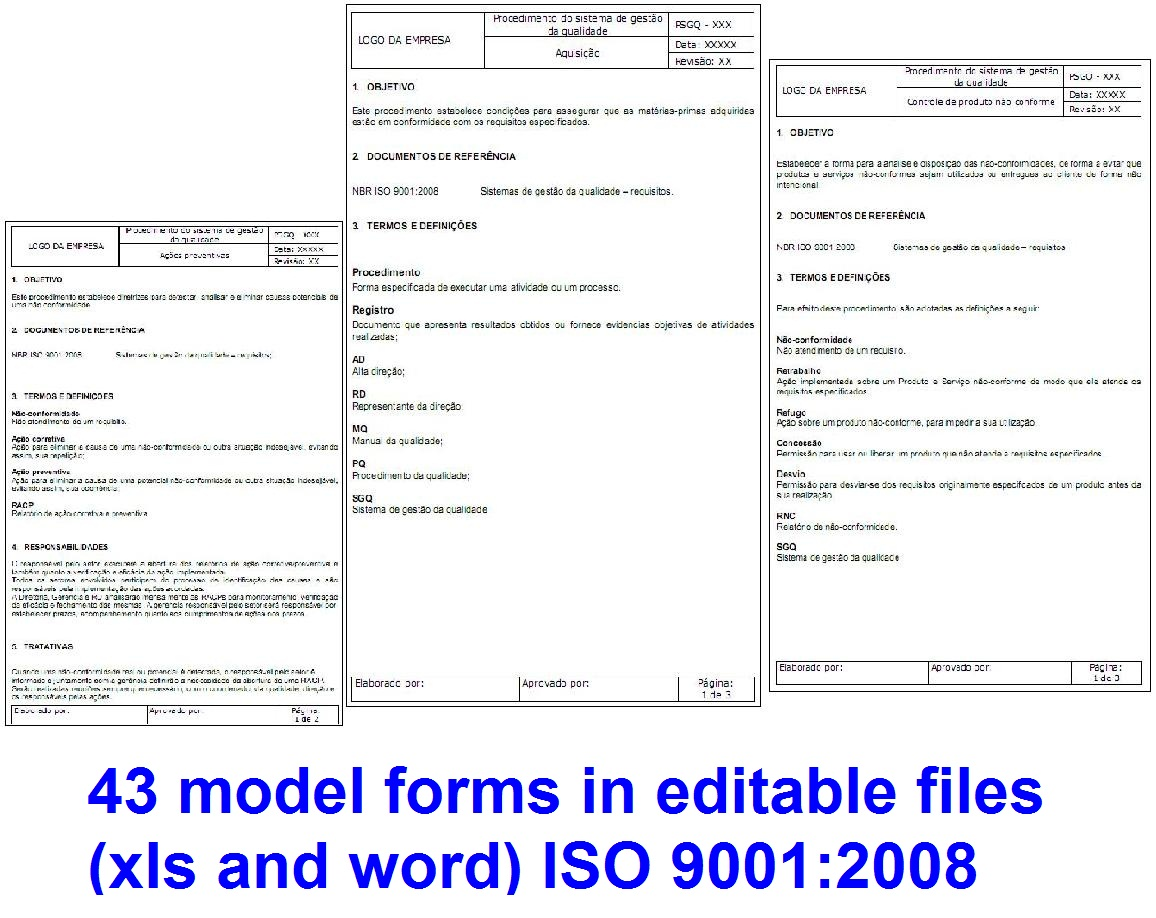 43 form templates in editable files xls and word for iso for Iso 9001 forms templates free