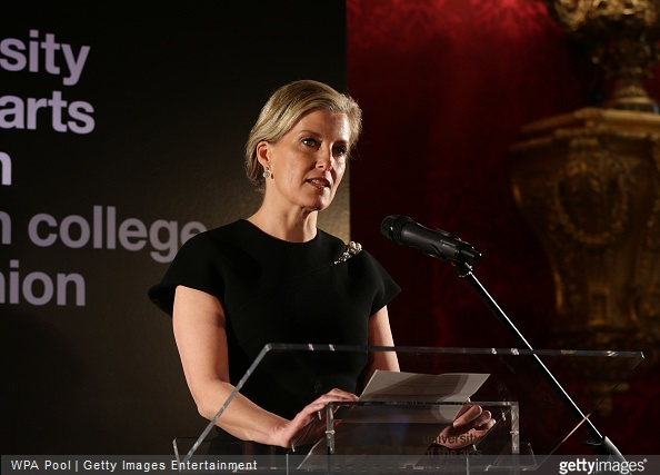 Sophie, Countess of Wessex speaks during a reception for the London College of Fashion at St James's Palace