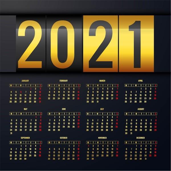 Calendario 2021 dorado en vector