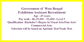 Exhibition Assistant Recruitment - Government of  West Bengal