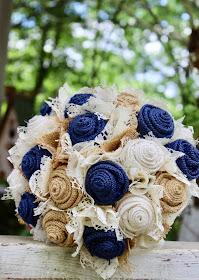 navy burlap and lace bridal bouquet