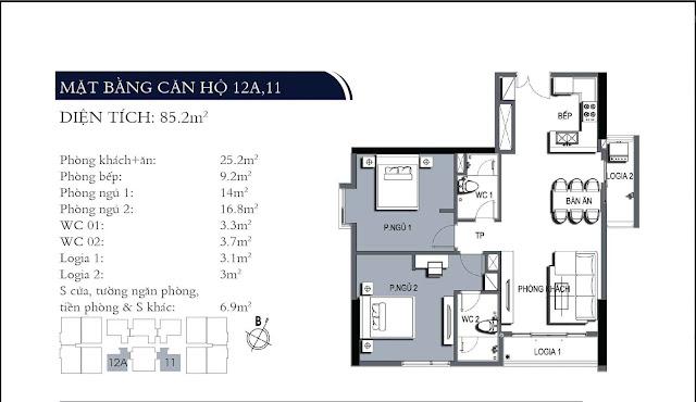 Mặt bằng căn hộ 11, 12A